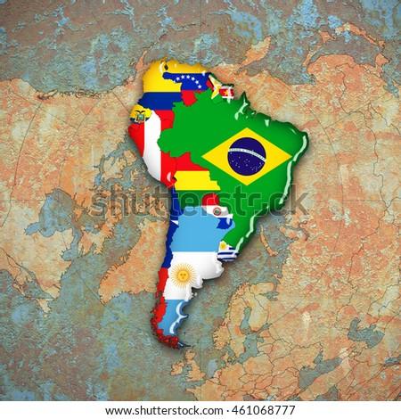 South americacontinentflagsmaps world map background 3 d south americacontinentflagsmaps and world map background 3d illustration gumiabroncs Images