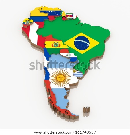 South America continent with flags