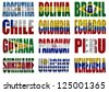 South America countries flag words on a white background - stock photo
