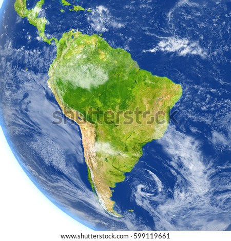 South America. 3D illustration with detailed planet surface. Elements of this image furnished by NASA.