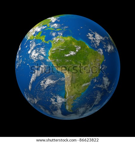 South America earth globe planet on black space background featuring america and latin american countries surrounded by blue ocean and clouds. - stock photo