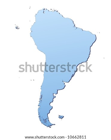 South America map filled with light blue gradient. High resolution. Mercator projection.