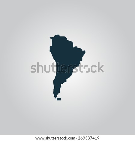 South america map. Flat web icon, sign or button isolated on grey background. Collection modern trend concept design style illustration symbol - stock photo