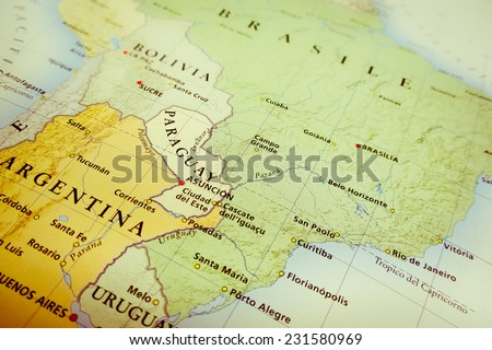 South America map (Geographical view altered on colors/perspective and focus on the edge. Names can be partial or incomplete) - stock photo