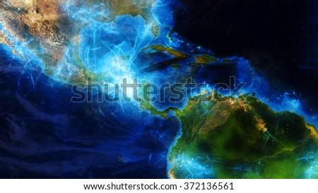 South America Map - Special Effects Composition (Elements of this image furnished by NASA) - stock photo