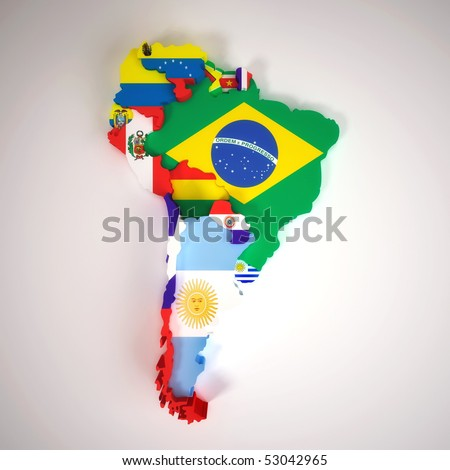 South America map with countries and capital cities - stock photo