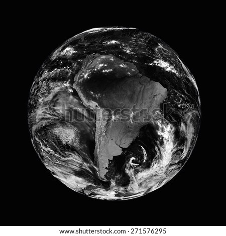 South America on black planet Earth isolated on black background. Elements of this image furnished by NASA. - stock photo