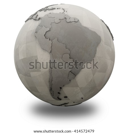 South America on 3D model of metallic planet Earth made of steel plates with embossed countries. 3D illustration isolated on white background with shadow.