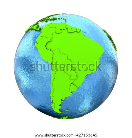 South America on elegant green 3D model of planet Earth with realistic watery blue ocean and green continents with visible country borders. 3D illustration isolated on white background. - stock photo