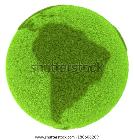 South America on green planet covered with grass isolated on white background. Concept of ecology and clean environment. Elements of this image furnished by NASA