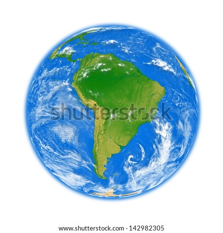 South America on planet Earth isolated on white background. Elements of this image furnished by NASA.
