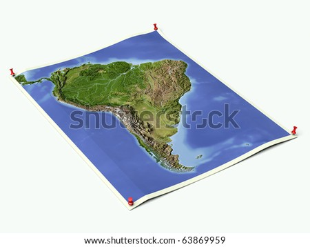 South America on unfolded map sheet with thumbtacks. - stock photo