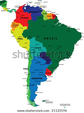 South America political map - stock photo