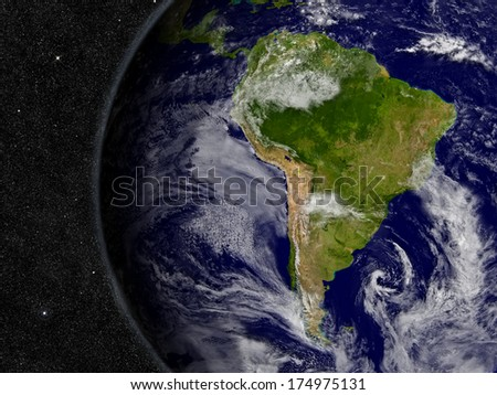 South America region on planet Earth from space with stars in the background. Elements of this image furnished by NASA. - stock photo