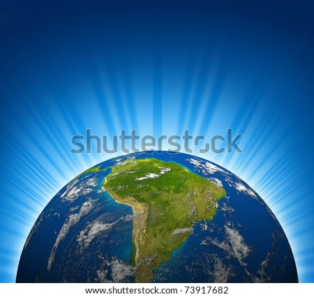 South america view on an Earth planet globe model with a bright radial blue background. - stock photo