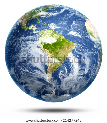 South America white isolated. Earth globe model, maps courtesy of NASA