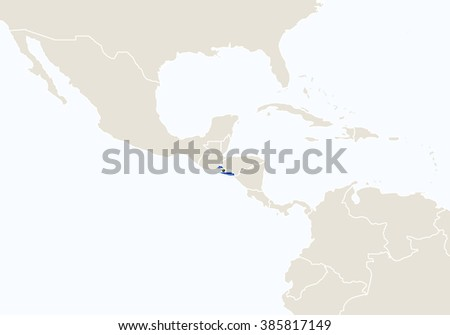 South America with highlighted El Salvador map. Raster copy.  - stock photo
