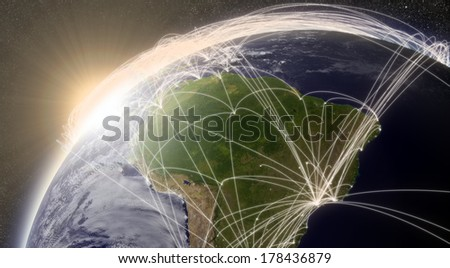 South America with network representing major air traffic routes. Elements of this image furnished by NASA. - stock photo