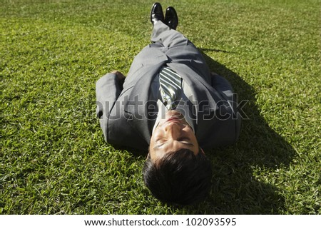 South American businessman laying in grass - stock photo