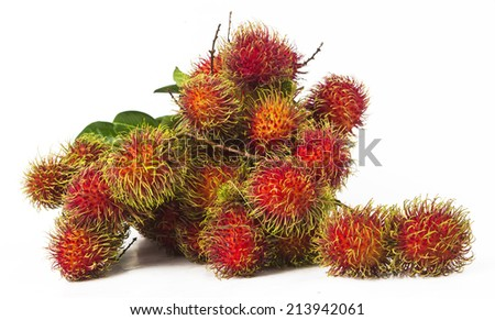 south american exotic fruits Lichas isolated  - stock photo