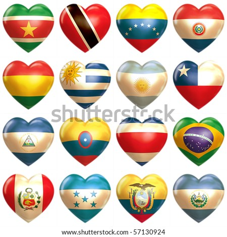 South American Hearts - stock photo