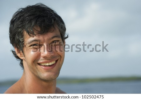 South American man laughing