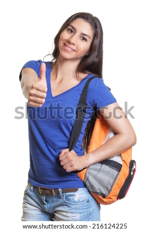 South american student showing thumb up - stock photo