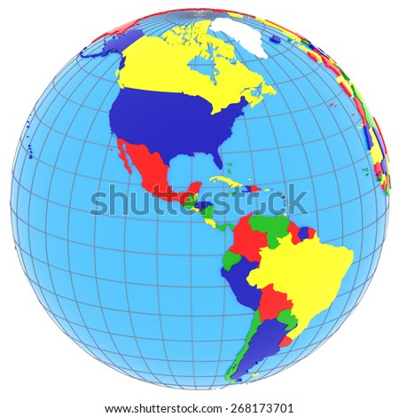 South and North America, political map of the world with countries in four colors, isolated on white background. - stock photo