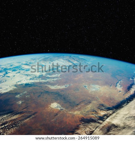 South Australia overlooking lakes Frome and Torrens, from space, with stars above. Elements of this image furnished by NASA.  - stock photo