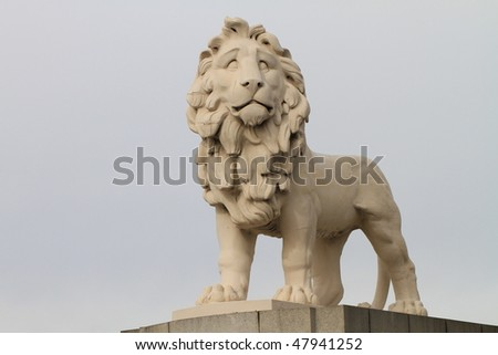 South Bank lion guarding the London Eye tourist attraction