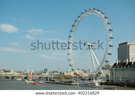 South Bank, London, UK. 2nd April 2016. EDITORIAL - View of the London Eye on the south bank of the River Thames, London, UK, against a beautiful blue sky in the background.