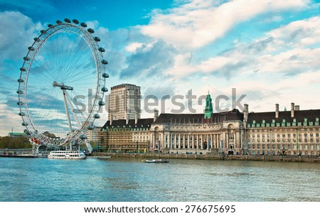 South Bank of the River Thames at night in London, England.  - stock photo