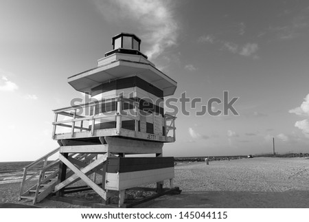 South Beach in Black and White - stock photo