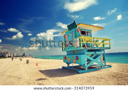South Beach in Miami, Florida - stock photo
