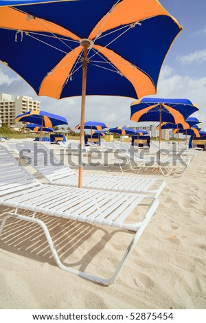 South Beach (Miami Beach) Umbrellas and Lounge Chairs - stock photo