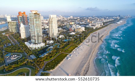 South Beach Miami Florida Skyline Aerial View