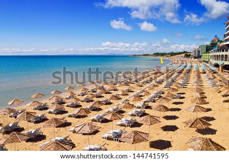 South Beach of Nessebar in summer - stock photo