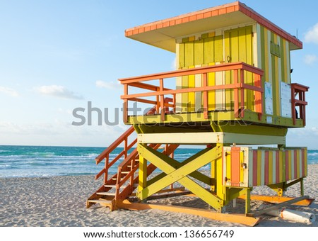 South Beach 8th street Lifeguard Tower.  Early morning pic of lifeguard station across from 8th street and Ocean Drive at South Beach, Miami Florida - stock photo