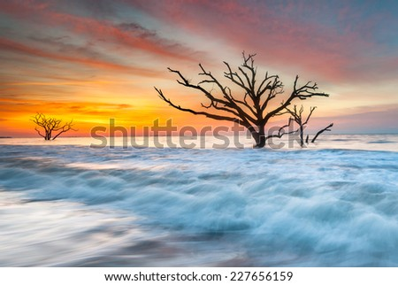 South Carolina Edisto Island Coastal Sunrise Atlantic Ocean - stock photo