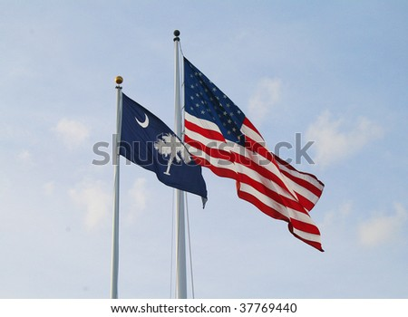South Carolina flag and American flag - stock photo