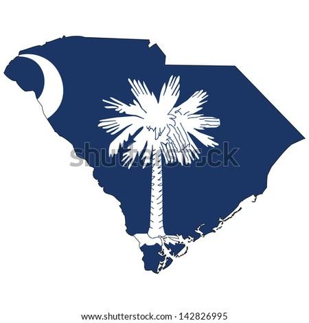 South Carolina map with the flag inside.  - stock photo