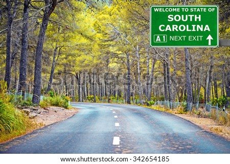 SOUTH CAROLINA road sign against clear blue sky - stock photo