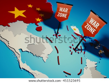 South China Sea conflict between China and Philippines over Spratly Islands and Paracel islands - 3D illustration for newspaper teasers.  - stock photo
