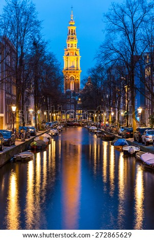 South Church Zuiderkerk and Amsterdam Canals at dusk Natherland - stock photo