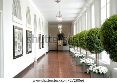 South corridor of the White House in Washington D.C. - stock photo