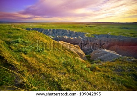South Dakota Landscape. South Dakota, USA. Prairies and Badlands. Pine Ridge Indian Reservations. Nature Photo Collection. - stock photo