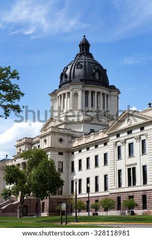 South Dakota State Capitol building is located in Pierre, South Dakota, USA. - stock photo