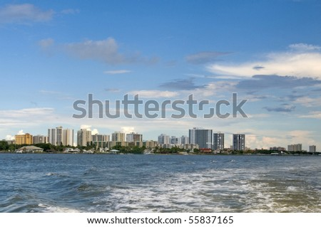South Daytona skyline showing numerous condo high rise building from a water craft - stock photo