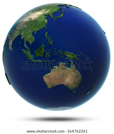 South-East Asia and Oceania. Elements of this image furnished by NASA