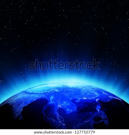 South East Asia city lights. Elements of this image furnished by NASA - stock photo